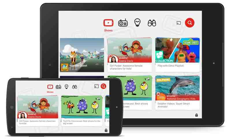 The start screen of Youtube Kids